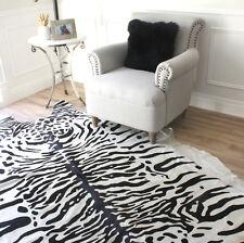 WHITE BLACK PRINTED SNOW TIGER COWHIDE LEATHER AREA FLOOR RUG LARGE