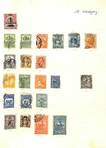 [OP6550] Uruguay lot of stamps on 12 pages