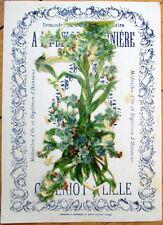 1900 Chicoree/Moka Advertising w/Victorian Diecut Scrap: Group Blue Flowers - 33
