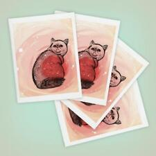 Trippy Exotic Shorthair Cat Greeting Card - Set of Four, Handmade
