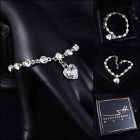 Herz-Armband, Bracelet *Herzen* Armreif, Weißgold pl, Swarovski Elements, +Etui