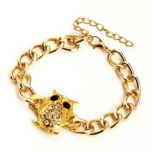 "Gold Owl Charm Bracelet Crystal Chain Link 7-9"" Love Chi Omega Plated USA Seller"