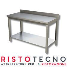 Tavolo acciaio inox con ripiano con alzatina 140x70x85H. Ristorazione Pizzeria