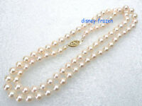 "20"" Charming AAA grade perfect round 8mm white AKOYA pearl necklace 14K clasp"