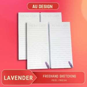 Lavender To Do List Fridge Magnetic Notepad, CBStore, Grocery Shopping List