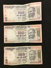 INDIA Paper Money 100 RUPEES lot of 3 different notes no letter and A & R series