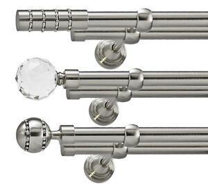 Metal Double Eyelet Curtain Pole Rod Stainless Steel 19mm & 19mm Without Rings