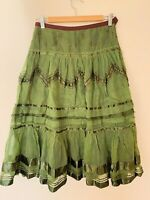 Easton pearson Skirt Green Ribbon Net Trim Purple Full Circle Long Boho 8 10