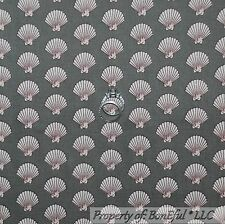 BonEful Fabric FQ Cotton Quilt VTG Gray Silver Cream Sea Shell Beach Pearl Small