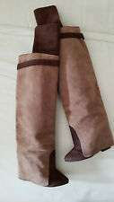 Givenchy Runway Layered Shaft Tall Brown Suede Boots 37.5 not Shark Lock