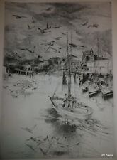 FISHERMEN'S WHARF PLATE C ETCHING BY JOHN W. WINKLER, MASTER ETCHER