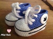 Patucos Bebe Recién Nacido Deportivas  Azul Blanca 0/3 Crochet Artesanal Nuevo