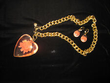 BETSEY JOHNSON RARE LARGE LUCITE HEART WITH ROSE INSIDE NECKLACE AND EARRINGS