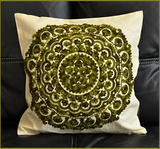 Cotton Silk Suzani Green Embroidery Hand Made Beige Pillow / Cushion Cover India