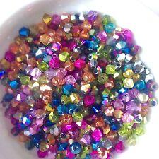 100 Beautiful Crystal Glass Bicone Beads -Half Metallic Mix 4mm