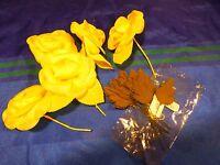 lot  mercerie ancienne les roses JAUNES  et les FEUILLES  pour chapeaux .....,?