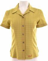 JACK WOLFSKIN Womens Shirt Short Sleeve UK 10 Small Green Check Polyester  NH02