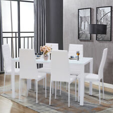Modern White Glass Dining Table Set and 4/6 Padded Leather Chairs Home Kitchen