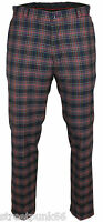 Relco Mens Stay Press Navy Tartan Trousers Sta Prest Retro Mod Skin Ska Golf