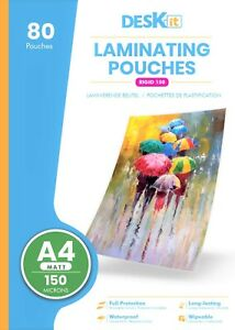 Deskit A4 Laminating Pouches – Matt – 80 Sheets – 150 Microns