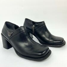 Harley Davidson Womens Size 7 Square Toe Black Leather Chunky Heels Inner Zipper