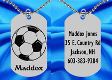 SOCCER Dog Tag Necklace for Kids, Personalized FREE with NAME! Boy or Girl