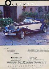 1986 Clenet Cabriolet Series II Original Advertisement Print Art Car Ad J714