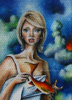 Original ACEO OIL ART DREAMY figurative woman & fish PAINTING surreal MINIATURE