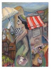 Woman shopping Oil on Canvas Painting