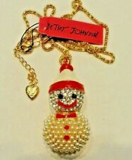 CLEAR CRYSTAL FAUX PEARL SNOWMAN Betsey Johnson Fashion Jewelry Women Pendant