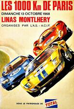 Les 1000 km de Paris 1968 Montlhery Car Race Motor Auto  Poster Print