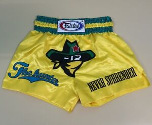SHORTS FAIRTEX MUAY THAI FIGHT GENUINE MMA KICK BOXING YELLOW HUNTER L SATIN