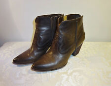 Frye Renee Ankle Boots Short Women's Brown Leather Size 9.5 9 1/2 Zip