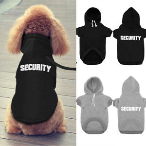 Pet Dog Clothes SECURITY Printing Sports Hoodie Jumper Coat Jacket Puppy Apparel