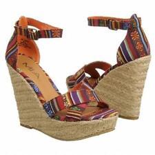 """Mia Silvia 4.75"""" heels sandals wedges multi 8.5 Med NEW"""