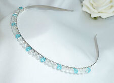 Handmade Bridesmaid Prom - Aqua & Clear Crystals - Tiara headband Aliceband