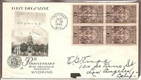US SC # 897 Wyoming Statehood FDC.  Block Of 4. Artcraft Cachet