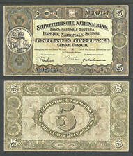 SWITZERLAND 5 FRANKEN CURRENCY 2.12.1926 VF PICK # 11g HIGH CATALOG VALUE $$