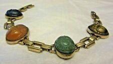 """Vintage 1/20 10K Yellow Gold Filled 4 Scarab Bracelet Signed Er 7"""" Long D"""