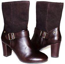 """✿HUSH PUPPIES Waterproof Brown Premium Leather 3"""" Heel Zip Boots 10 W NEW! L@@K!"""