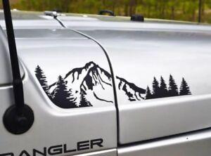 Mountain & Trees Decal For Jeep Wrangler TJ (1997-2006) Hood(4pc Set)