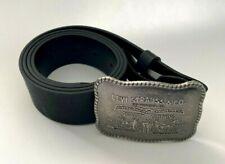 Levi's Black Logo Big Buckle Bonded Leather Belt Size 36 Two Horse New