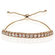 Rose Gold Flashed Sterling Silver Cubic Zirconia 3mm Bar Adjustable Bracelet