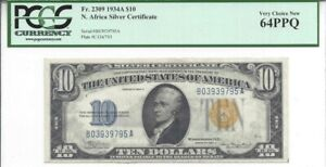 1934-A $10 Silver Certificate, Fr#2309, North Africa, Uncirculated PCGS 64 PPQ