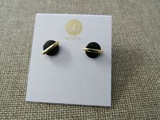 Gorjana Brinn Disc Stud Earrings gold plated pierced earrings black onyx