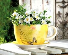 NEW WORLD OF PRODUCTS GARDEN BUTTERFLY TEACUP PLANTER FLOWER POT YELLOW POTTERY