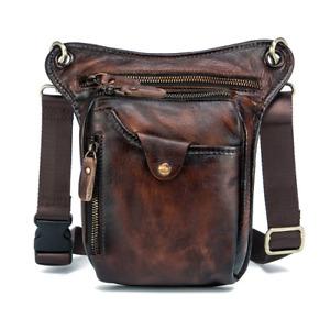 2021 Men's Casual Brown Fashion Travel Waist Bag Leg Bag Pu Wallet