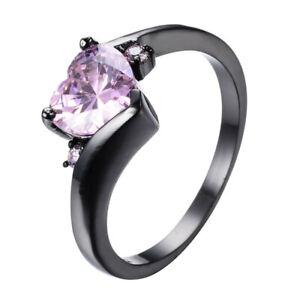 Luxury Women'S Heart Shaped Pink Cubic Zirconia Black Gold Ring Jewelry Size 7