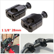 "Pair 1 1/8"" 28mm Universal Motorcycle Handlebar Mount Riser Clamp CNC Aluminium"