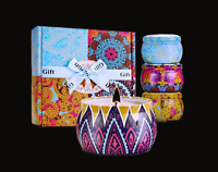 4-Pack 4.4oz Personalized soy candles gift set for her and for him.